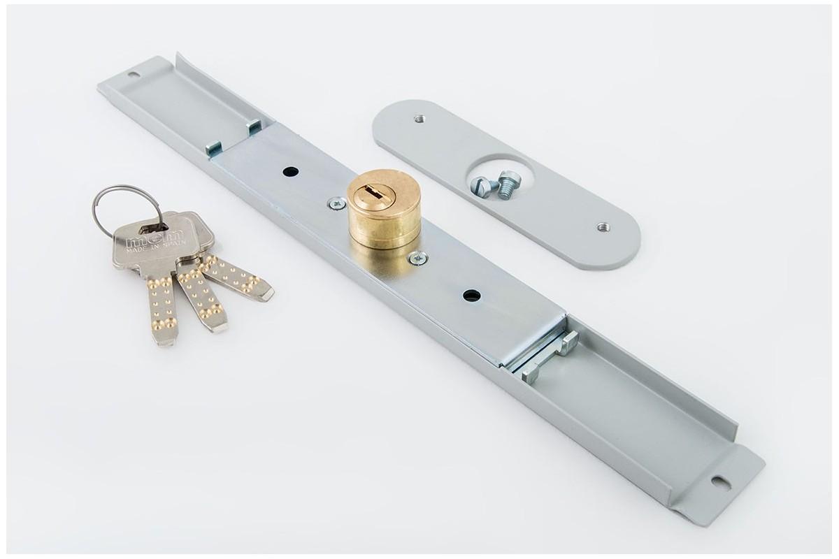 Zamek baskwilowy 3 klucze z płytką SZARY - MCM