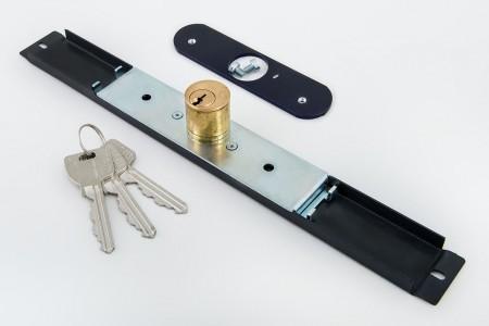 Zamek baskwilowy 3 klucze z płytką ANTRACYT - MCM