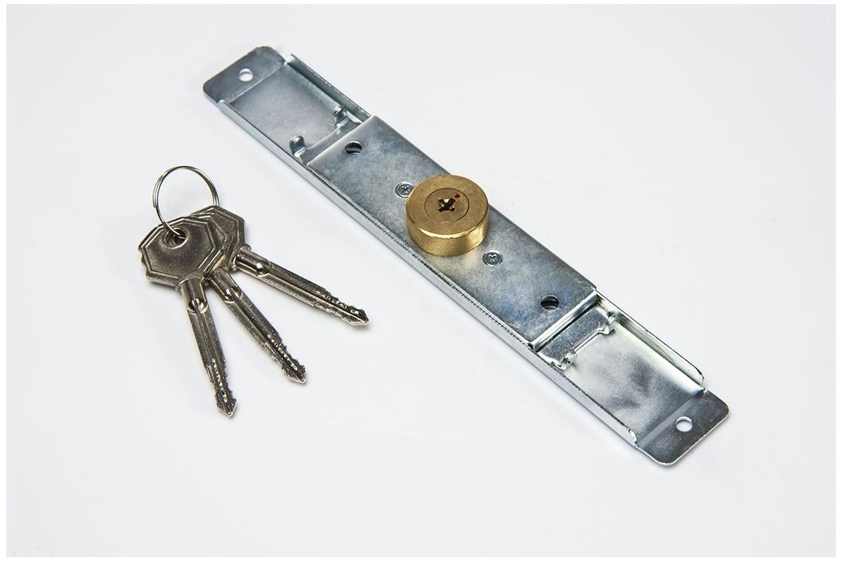 Espagnolette lock (Ø 28mm), 3 keys, galvanized