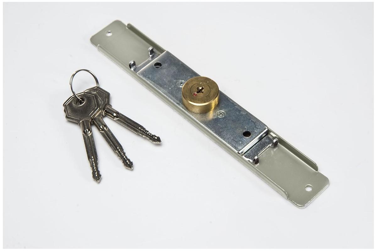 Espagnolette lock (Ø 28mm), 3 keys, grey
