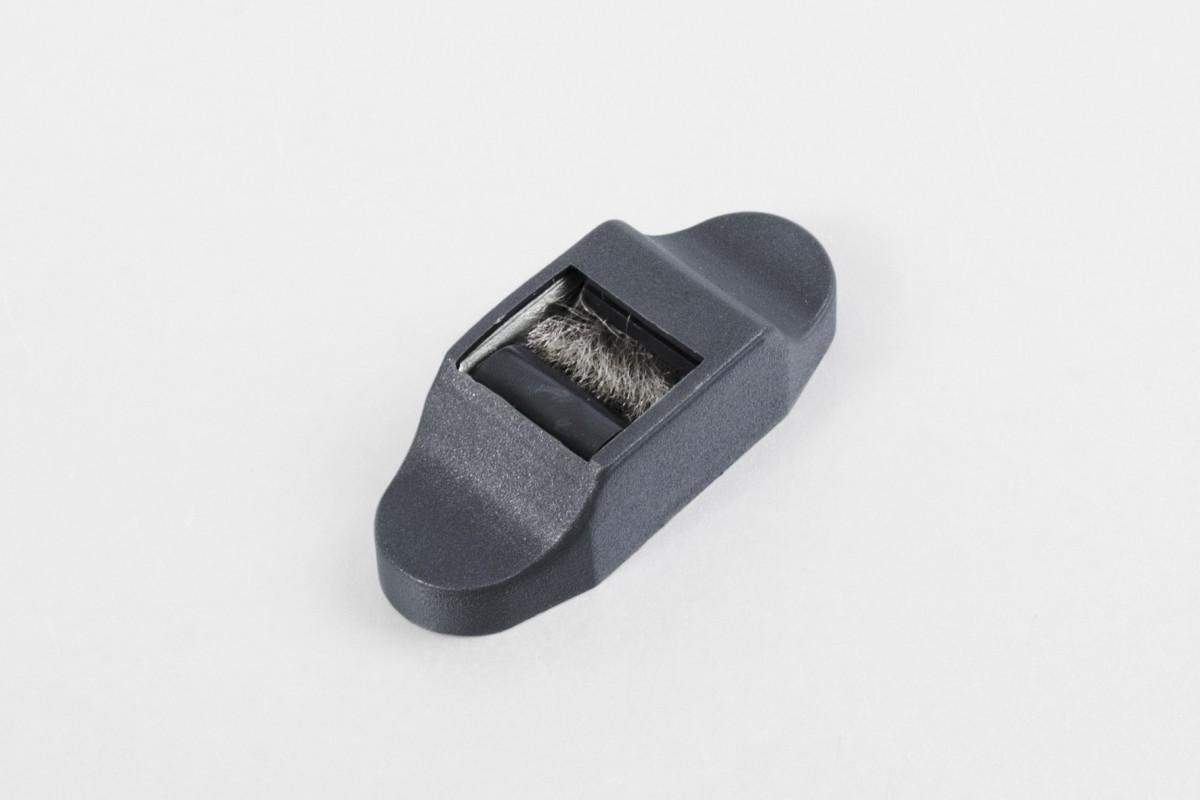 Prowadnica taśmy 14 mm stalowa ze szczotką i maskownicą, antracyt