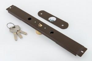 Zamek baskwilowy 3 klucze z płytką JASNY BRĄZ - MCM