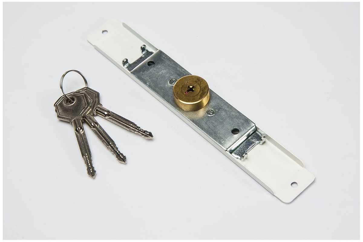 Espagnolette lock (Ø 28mm), 3 keys, white
