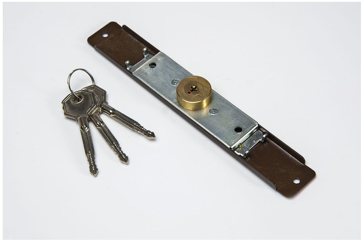 Espagnolette lock (Ø 28mm), 3 keys, walnut