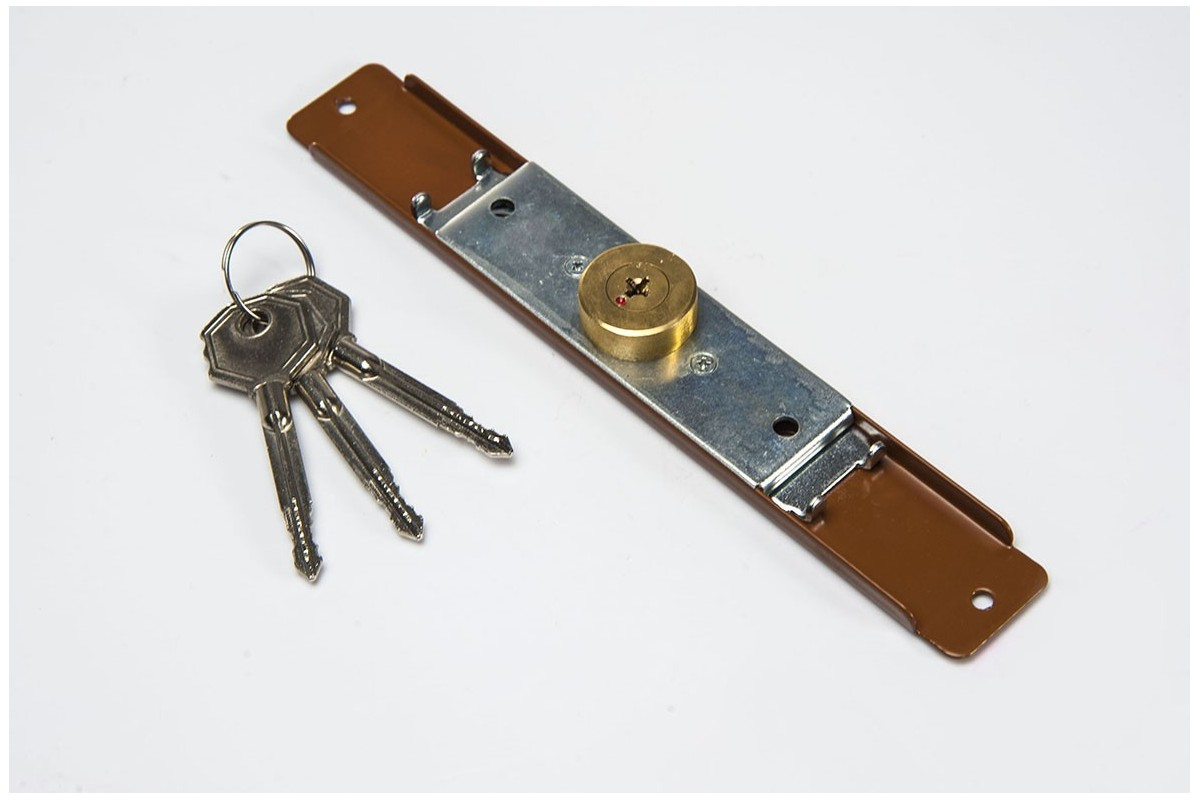 Espagnolette lock (Ø 28mm), 3 keys, golden oak