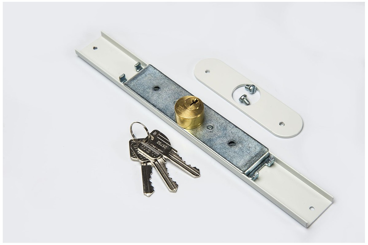 Espagnolette lock 25 x 25mm, 3 keys, with plate, white
