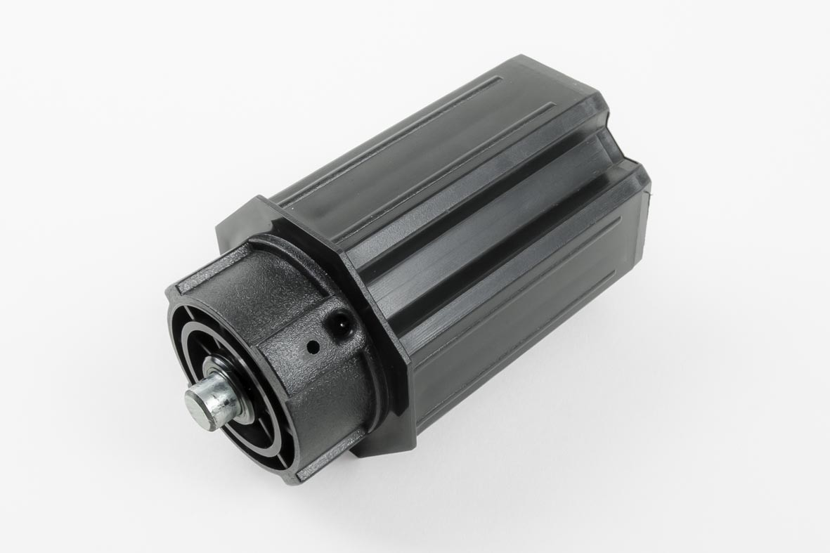 Ø60 end cap, L98 mm, with Ø10 fixed pivot for pulleys