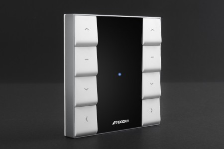 2-channel NUXO remote control with wall mounted holder, white