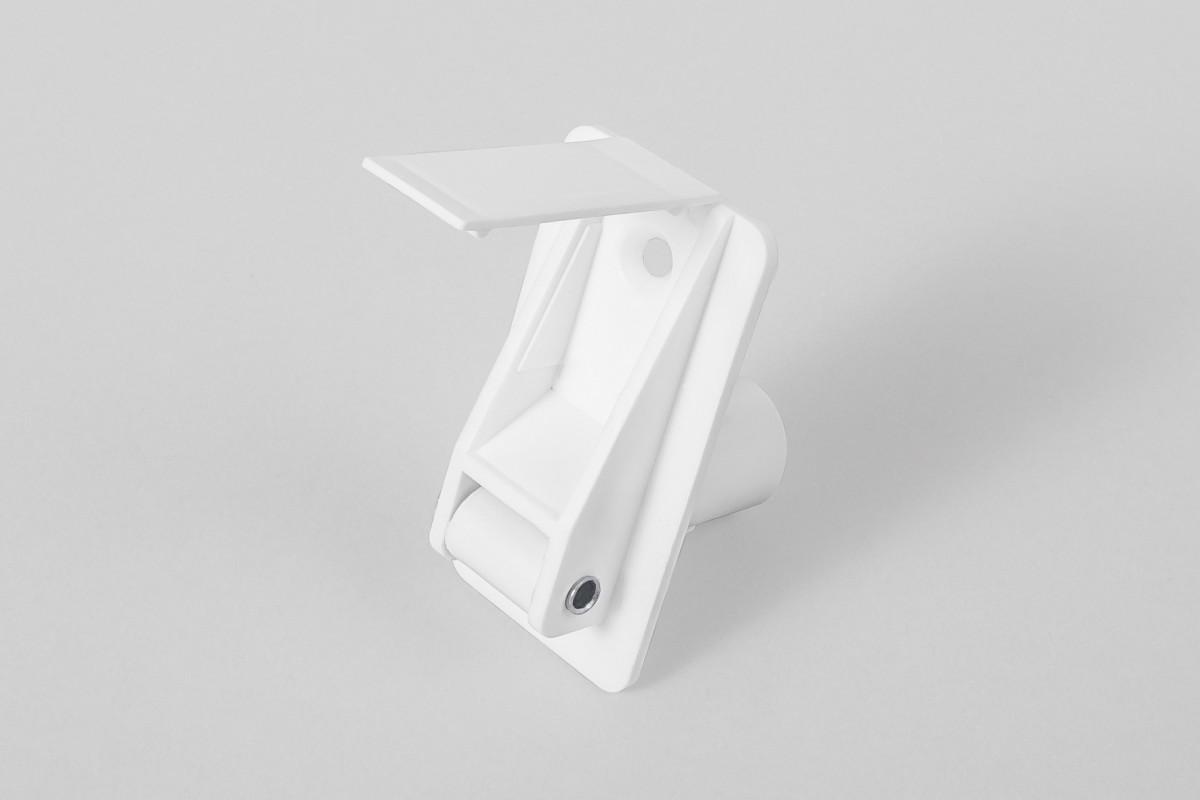 Prowadnica taśmy 14 mm rurkowa z otworem na śrubę i maskownicą, biała