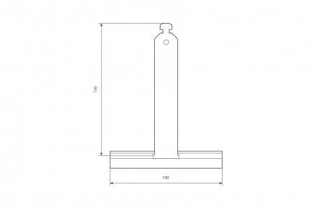 Felt coatedspringy hanger, ALU100 profile, without cut, L150 mm, for 37-52 profiles