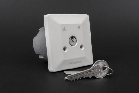 Przełącznik kluczykowy podtynkowy, uniwersalny, szary