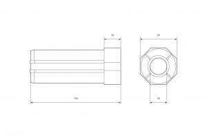 Obsadka Ø60 L150mm z łożyskiem Ø28/12 PCV