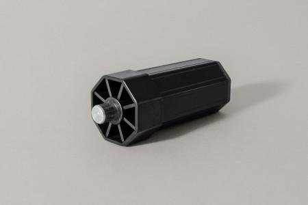 Ø40 end cap, L90 mm, with Ø12 fixed pivot